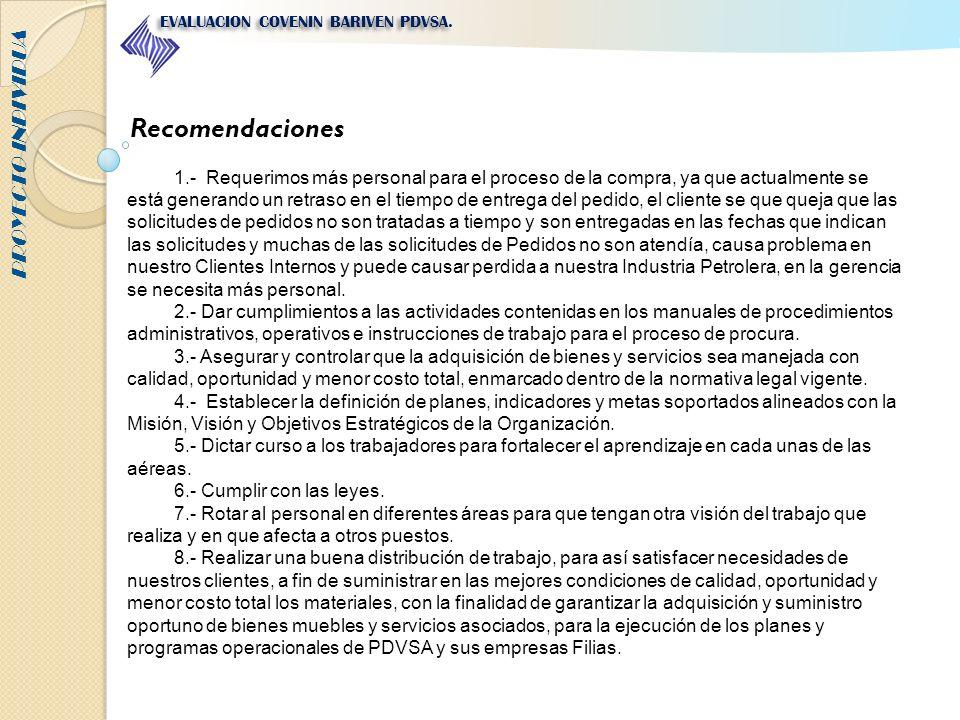 PROYECTO INDIVIDUA EVALUACION COVENIN BARIVEN PDVSA. Recomendaciones 1.- Requerimos más personal para el proceso de la compra, ya que actualmente se e