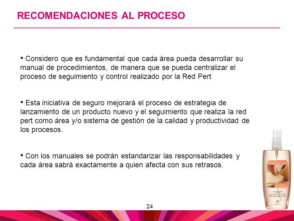 24 RECOMENDACIONES AL PROCESO Considero que es fundamental que cada área pueda desarrollar su manual de procedimientos, de manera que se pueda central