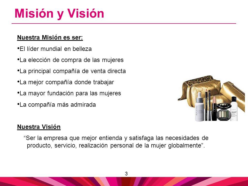3 Misión y Visión Nuestra Misión es ser: El líder mundial en belleza La elección de compra de las mujeres La principal compañía de venta directa La me