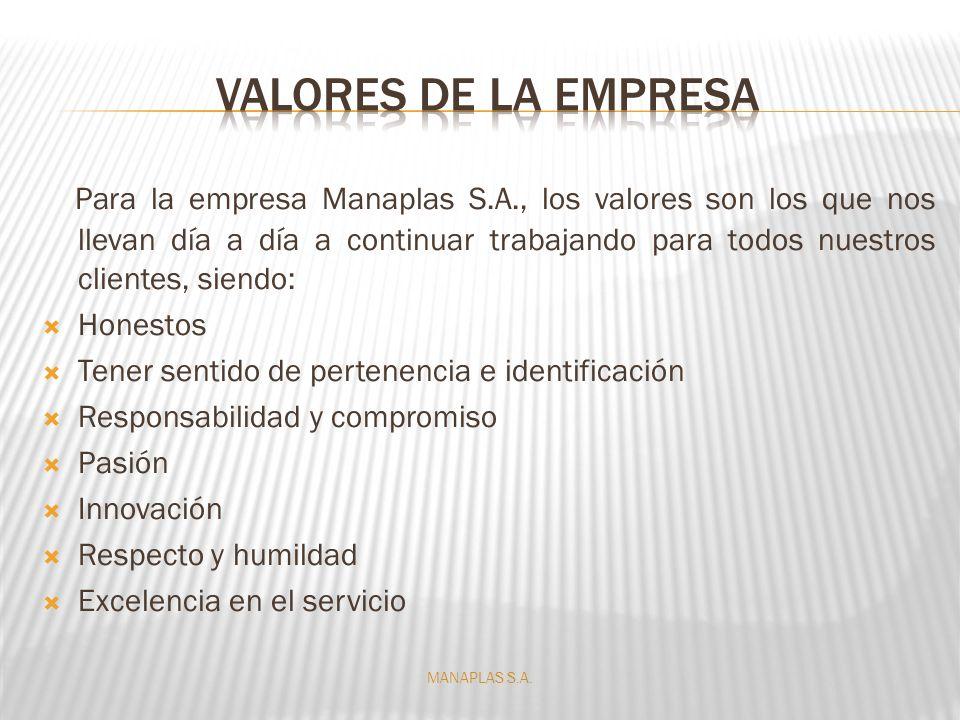 Para la empresa Manaplas S.A., los valores son los que nos llevan día a día a continuar trabajando para todos nuestros clientes, siendo: Honestos Tene