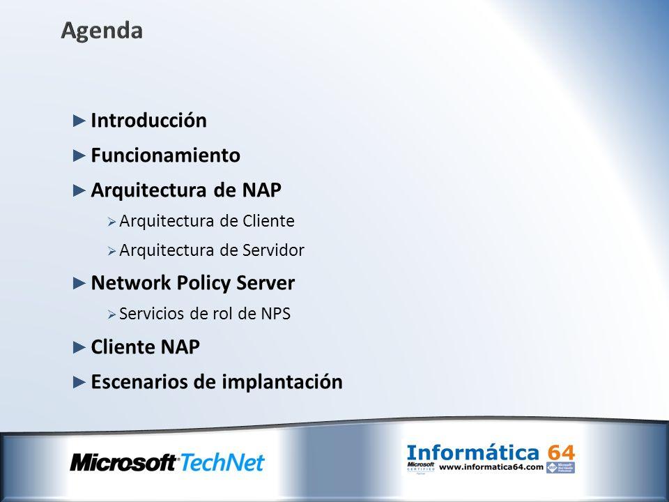Agenda Introducción Funcionamiento Arquitectura de NAP Arquitectura de Cliente Arquitectura de Servidor Network Policy Server Servicios de rol de NPS
