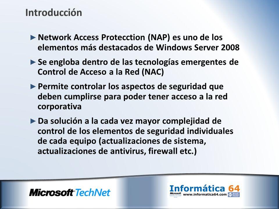 Introducción Network Access Protecction (NAP) es uno de los elementos más destacados de Windows Server 2008 Se engloba dentro de las tecnologías emerg