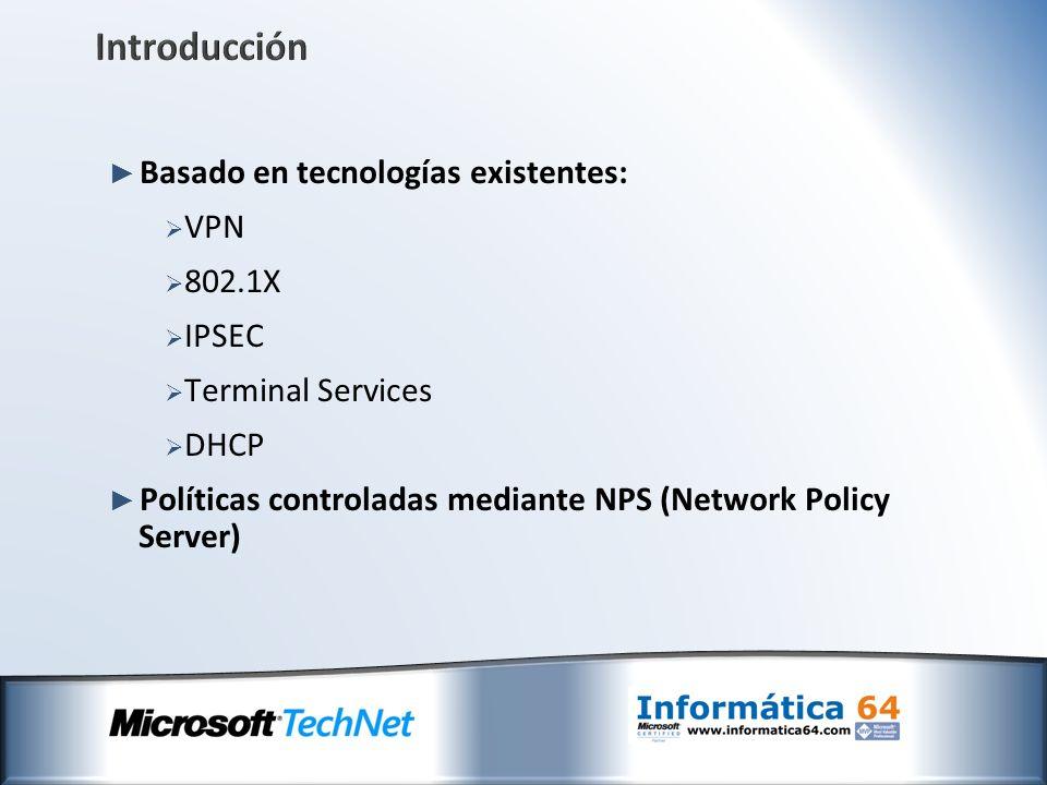 Introducción Basado en tecnologías existentes: VPN 802.1X IPSEC Terminal Services DHCP Políticas controladas mediante NPS (Network Policy Server)