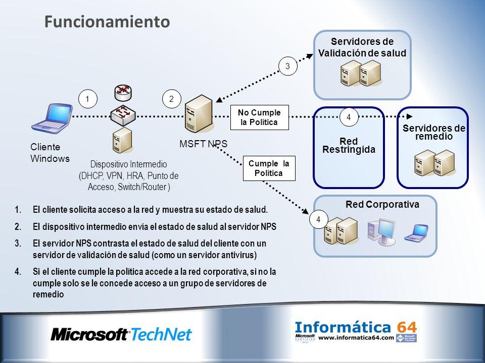 Arquitectura Arquitectura de cliente: Servidor de remedio System Health Agent (SHA) Enforcement Client (NAP EC) NAP Agent Windows XP SP3, Windows Vista y Windows Server 2008 incluyen el cliente NAP