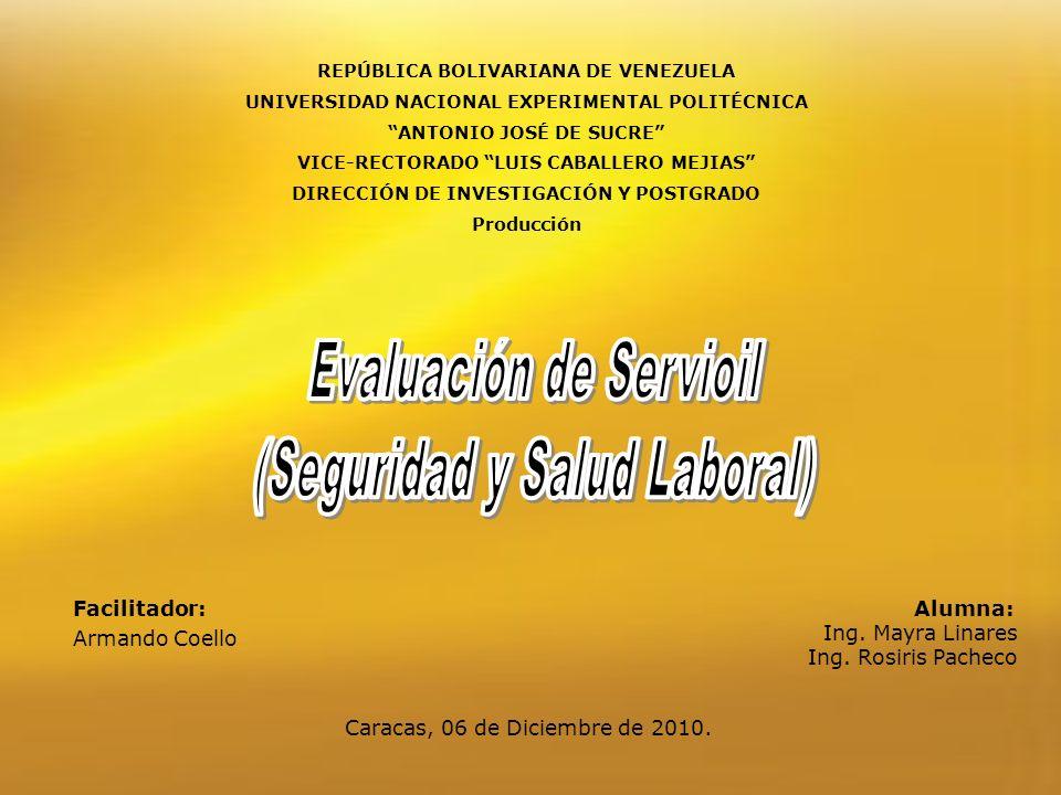 REPÚBLICA BOLIVARIANA DE VENEZUELA UNIVERSIDAD NACIONAL EXPERIMENTAL POLITÉCNICA ANTONIO JOSÉ DE SUCRE VICE-RECTORADO LUIS CABALLERO MEJIAS DIRECCIÓN DE INVESTIGACIÓN Y POSTGRADO Producción Alumna: Ing.