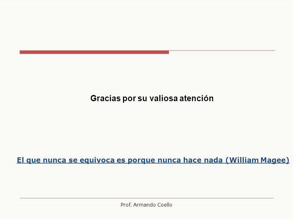 Prof. Armando Coello El que nunca se equivoca es porque nunca hace nada (William Magee) Gracias por su valiosa atención
