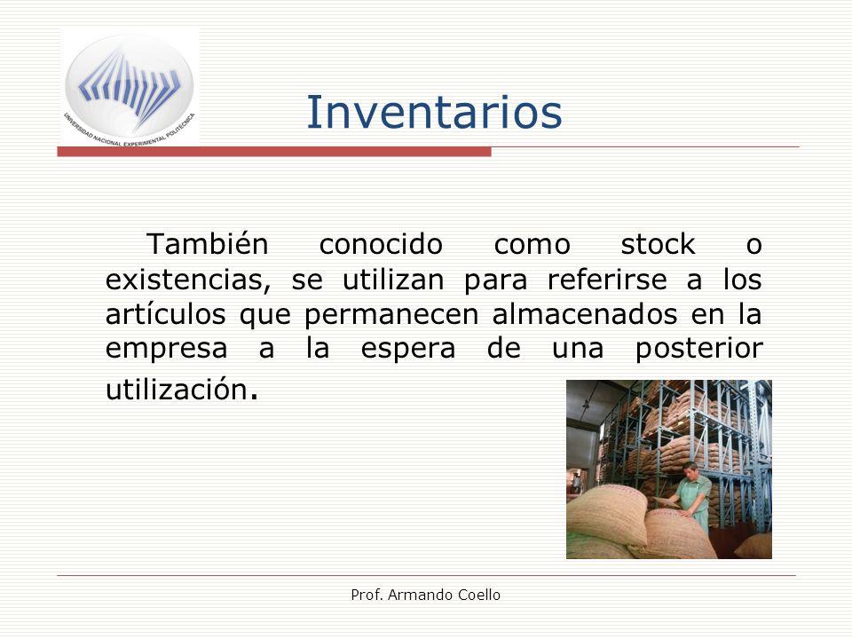 Inventarios También conocido como stock o existencias, se utilizan para referirse a los artículos que permanecen almacenados en la empresa a la espera