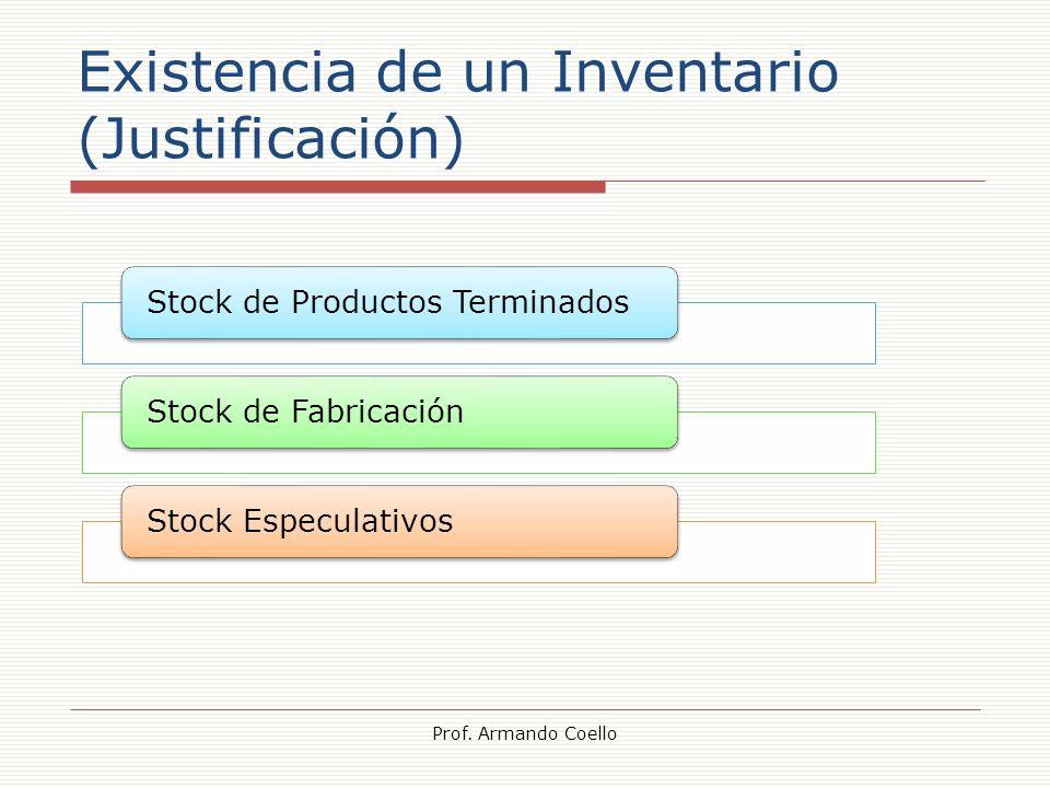Existencia de un Inventario (Justificación) Prof. Armando Coello Stock de Productos TerminadosStock de FabricaciónStock Especulativos