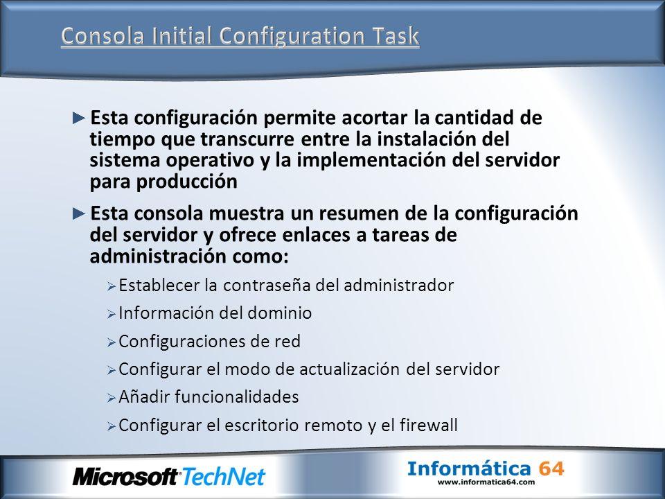 Esta configuración permite acortar la cantidad de tiempo que transcurre entre la instalación del sistema operativo y la implementación del servidor pa