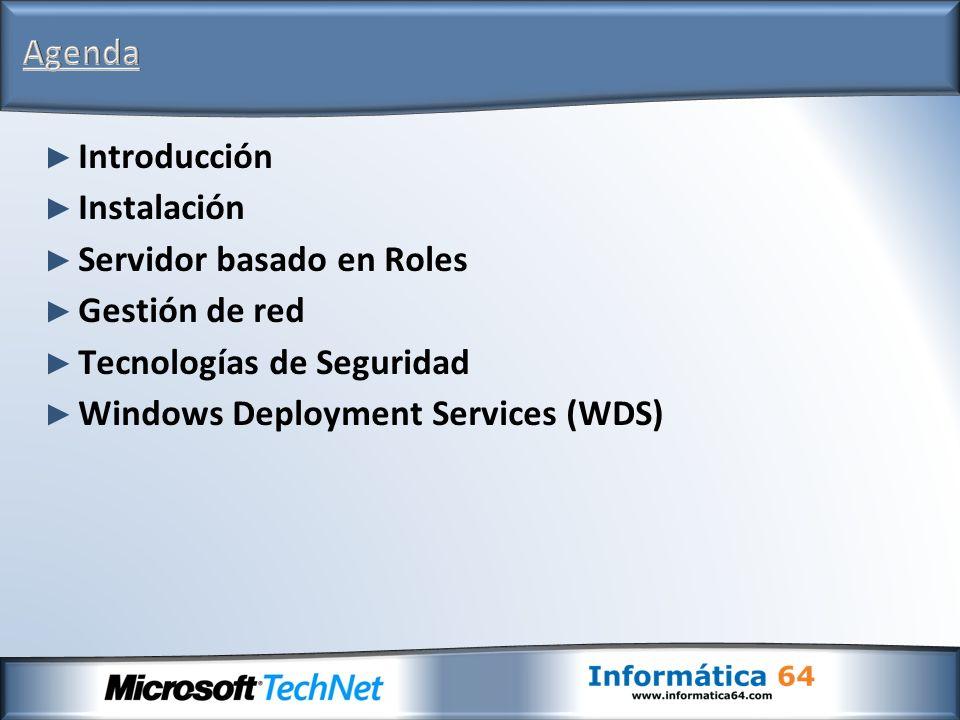 En Windows Server 2008 el proceso de instalación consiste en cuatro fases: Recopilación de información (idioma, teclado, zona geográfica) Introducción de la clave del producto Selección de la partición de instalación Instalación: Copia de los archivos a la unidad de instalación Descompresión de los archivos Instalación del Sistema Operativo Configuración previa del sistema