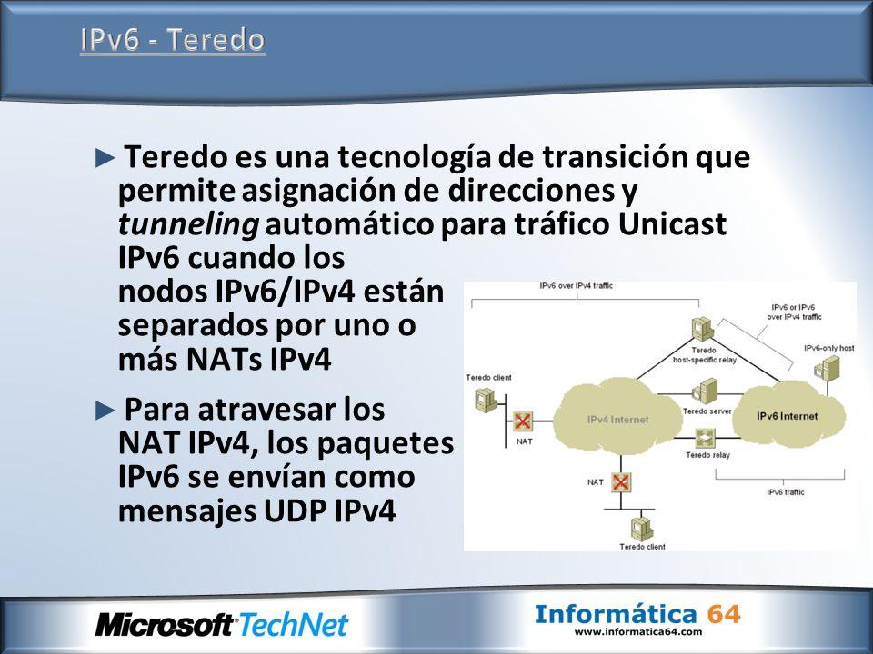 Teredo es una tecnología de transición que permite asignación de direcciones y tunneling automático para tráfico Unicast IPv6 cuando los nodos IPv6/IP