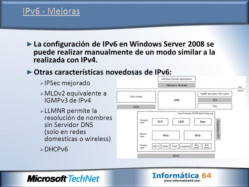 La configuración de IPv6 en Windows Server 2008 se puede realizar manualmente de un modo similar a la realizada con IPv4. Otras características novedo