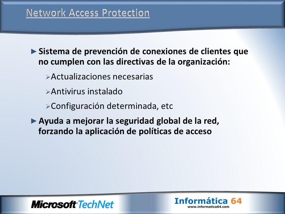 Sistema de prevención de conexiones de clientes que no cumplen con las directivas de la organización: Actualizaciones necesarias Antivirus instalado C