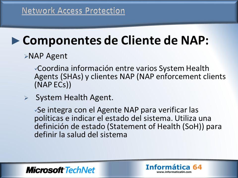 Componentes de Cliente de NAP: NAP Agent Coordina información entre varios System Health Agents (SHAs) y clientes NAP (NAP enforcement clients (NAP EC