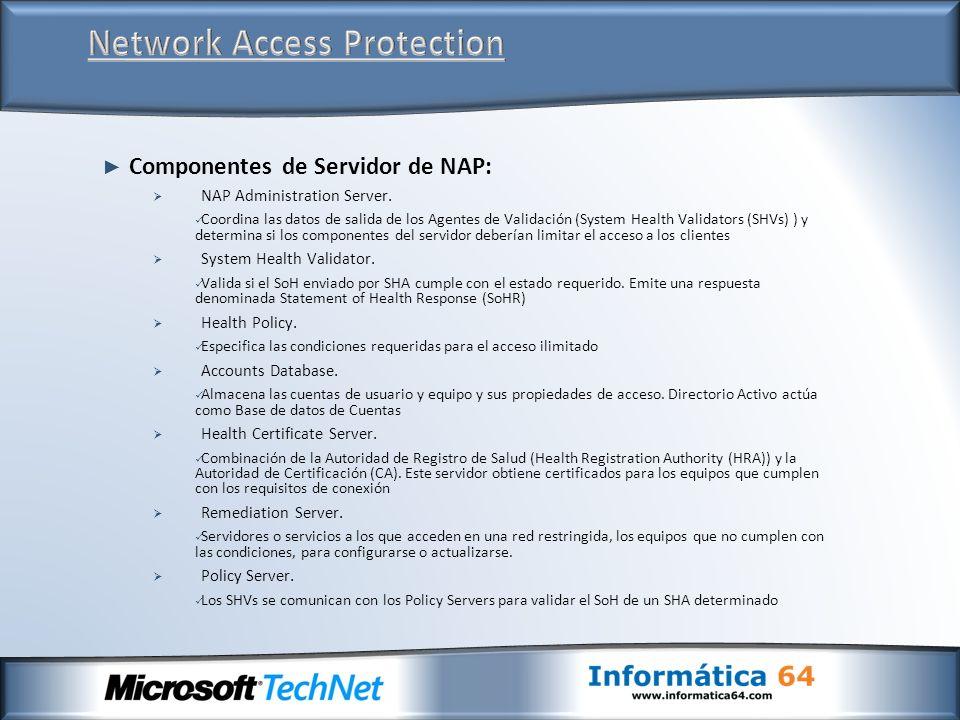 Componentes de Servidor de NAP: NAP Administration Server. Coordina las datos de salida de los Agentes de Validación (System Health Validators (SHVs)
