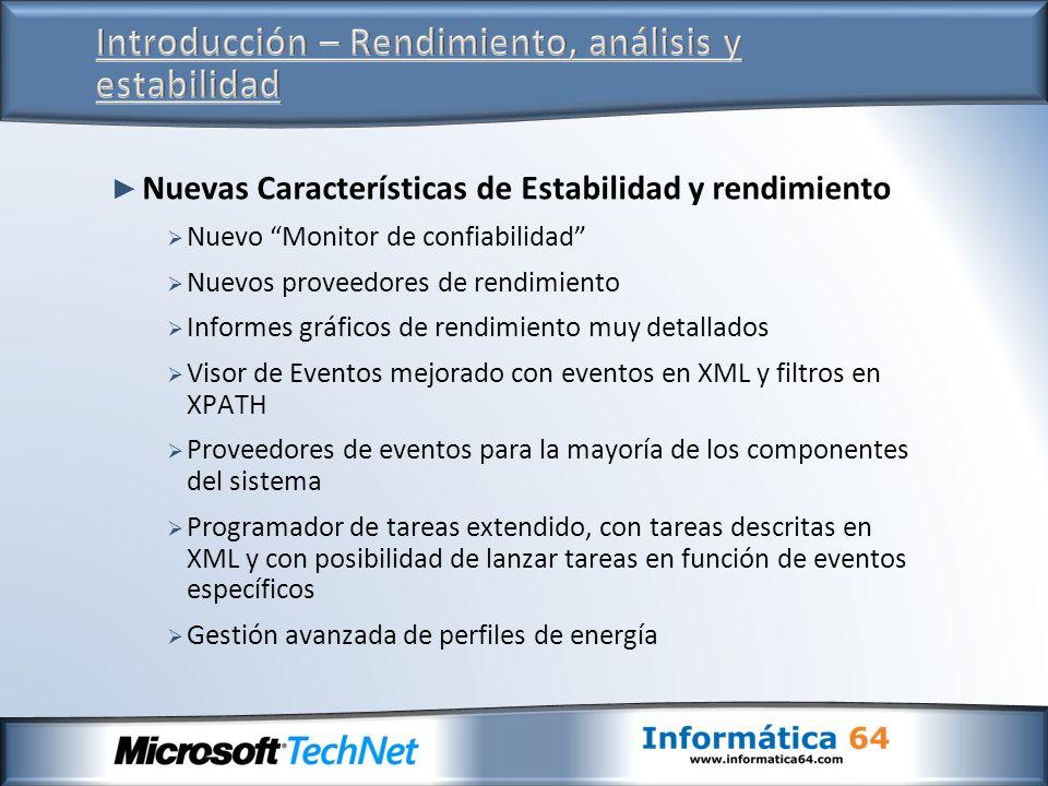Nuevas Características de Estabilidad y rendimiento Nuevo Monitor de confiabilidad Nuevos proveedores de rendimiento Informes gráficos de rendimiento