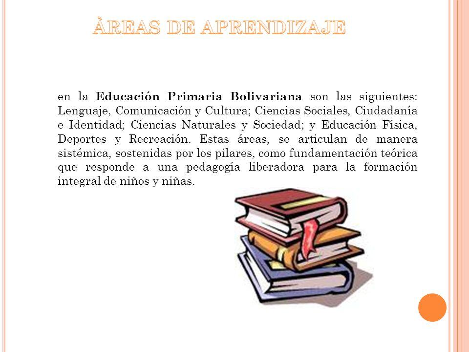en la Educación Primaria Bolivariana son las siguientes: Lenguaje, Comunicación y Cultura; Ciencias Sociales, Ciudadanía e Identidad; Ciencias Natural