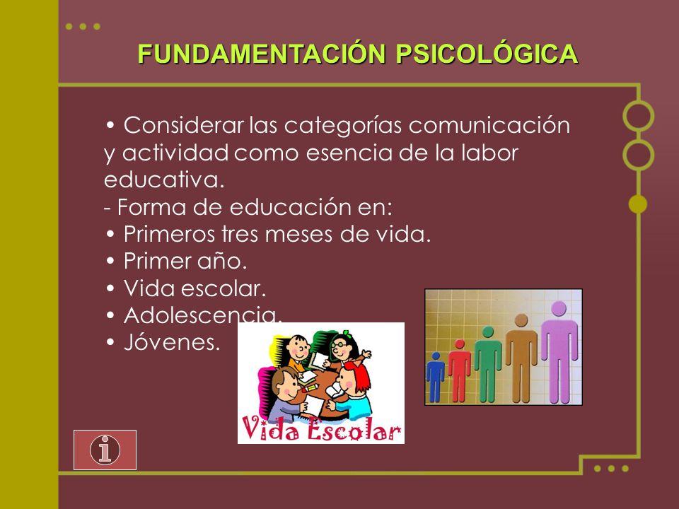FUNDAMENTACIÓN PSICOLÓGICA Considerar las categorías comunicación y actividad como esencia de la labor educativa. - Forma de educación en: Primeros tr