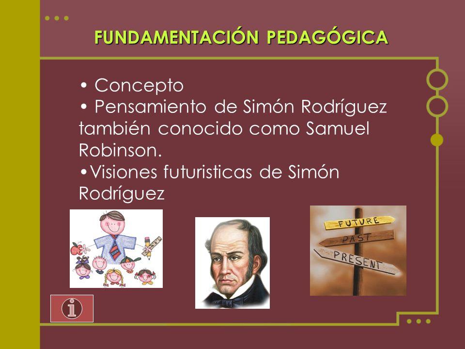 FUNDAMENTACIÓN PEDAGÓGICA Concepto Pensamiento de Simón Rodríguez también conocido como Samuel Robinson. Visiones futuristicas de Simón Rodríguez