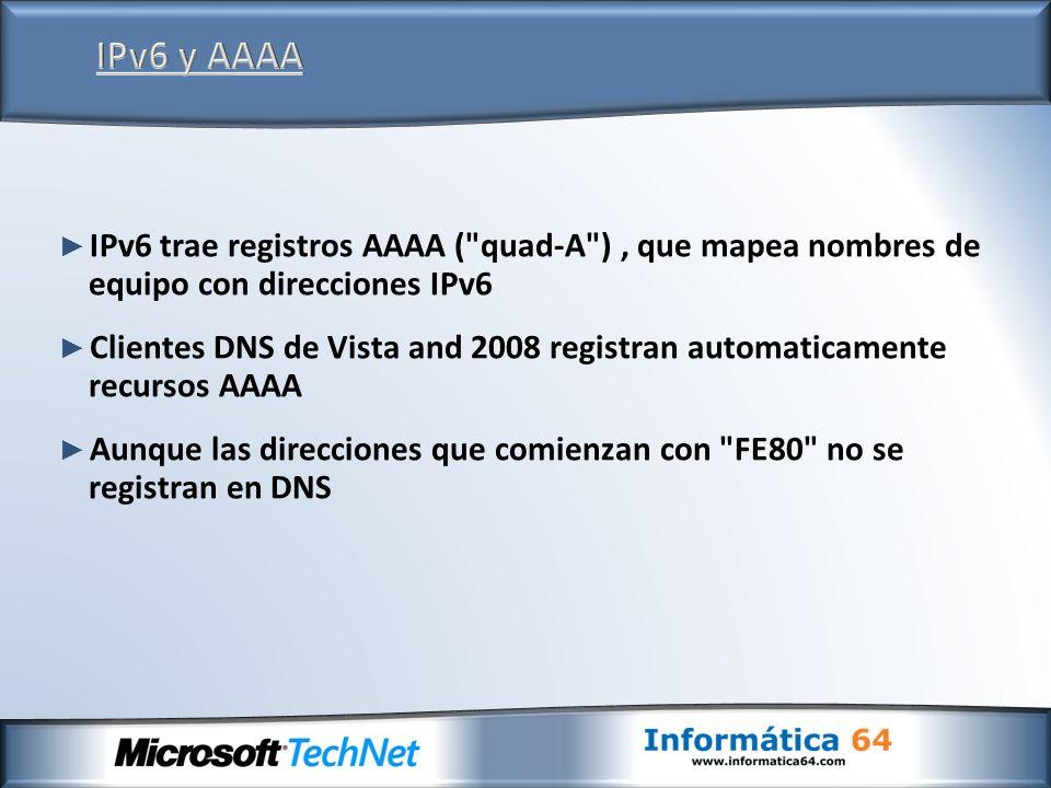 IPv6 trae registros AAAA ( quad-A ), que mapea nombres de equipo con direcciones IPv6 Clientes DNS de Vista and 2008 registran automaticamente recursos AAAA Aunque las direcciones que comienzan con FE80 no se registran en DNS