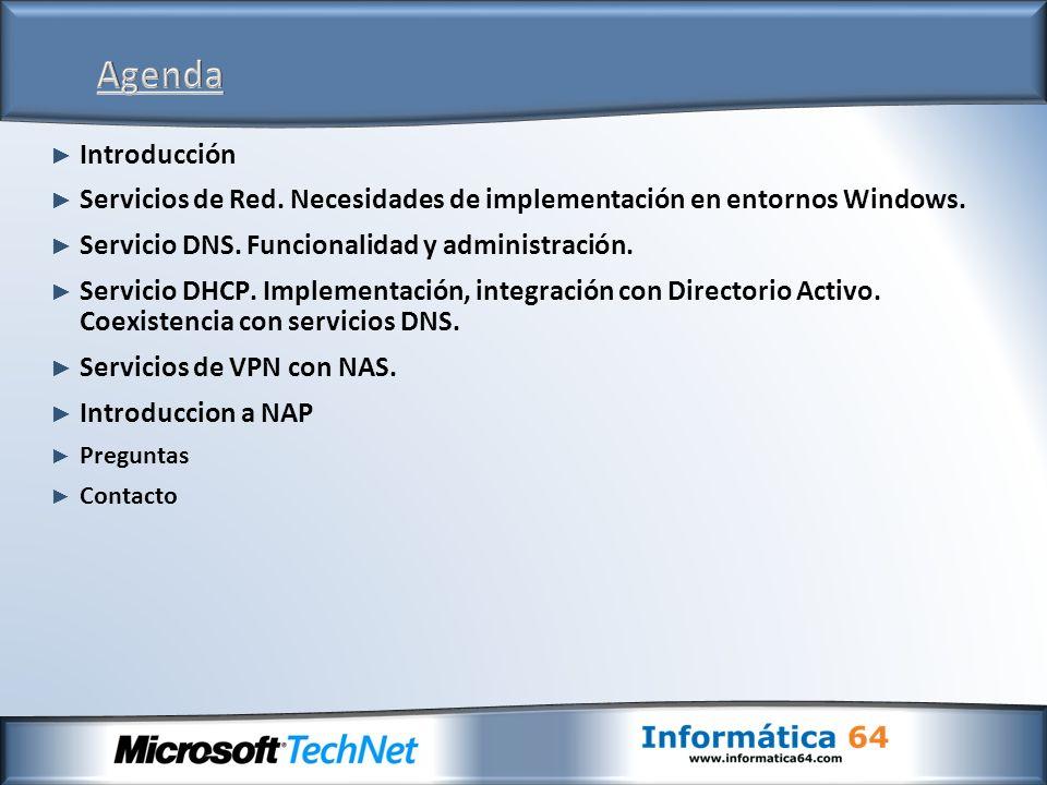 Introducción Servicios de Red. Necesidades de implementación en entornos Windows.