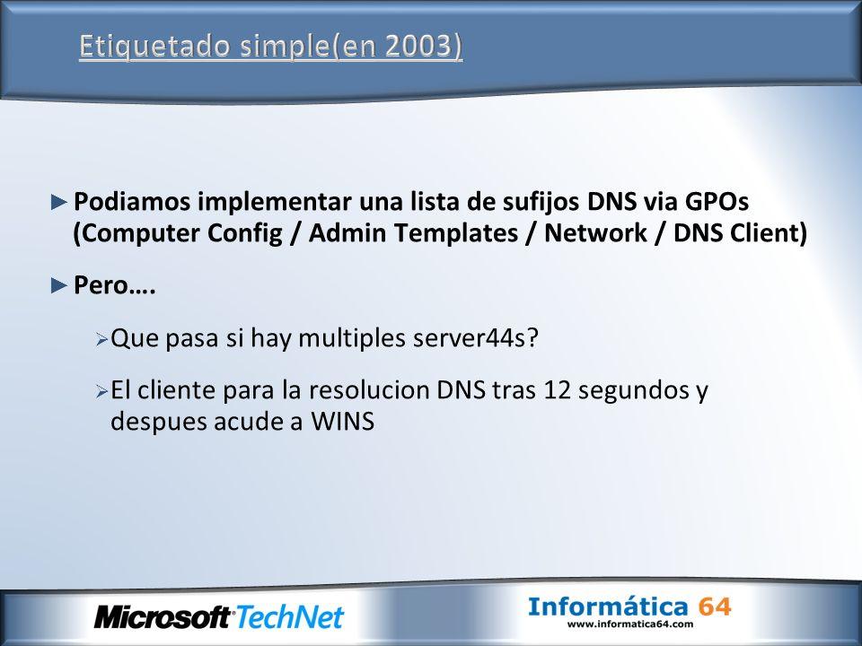 Podiamos implementar una lista de sufijos DNS via GPOs (Computer Config / Admin Templates / Network / DNS Client) Pero….