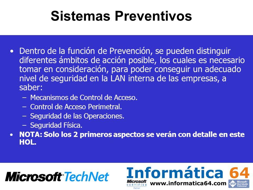 Sistemas Preventivos Dentro de la función de Prevención, se pueden distinguir diferentes ámbitos de acción posible, los cuales es necesario tomar en c