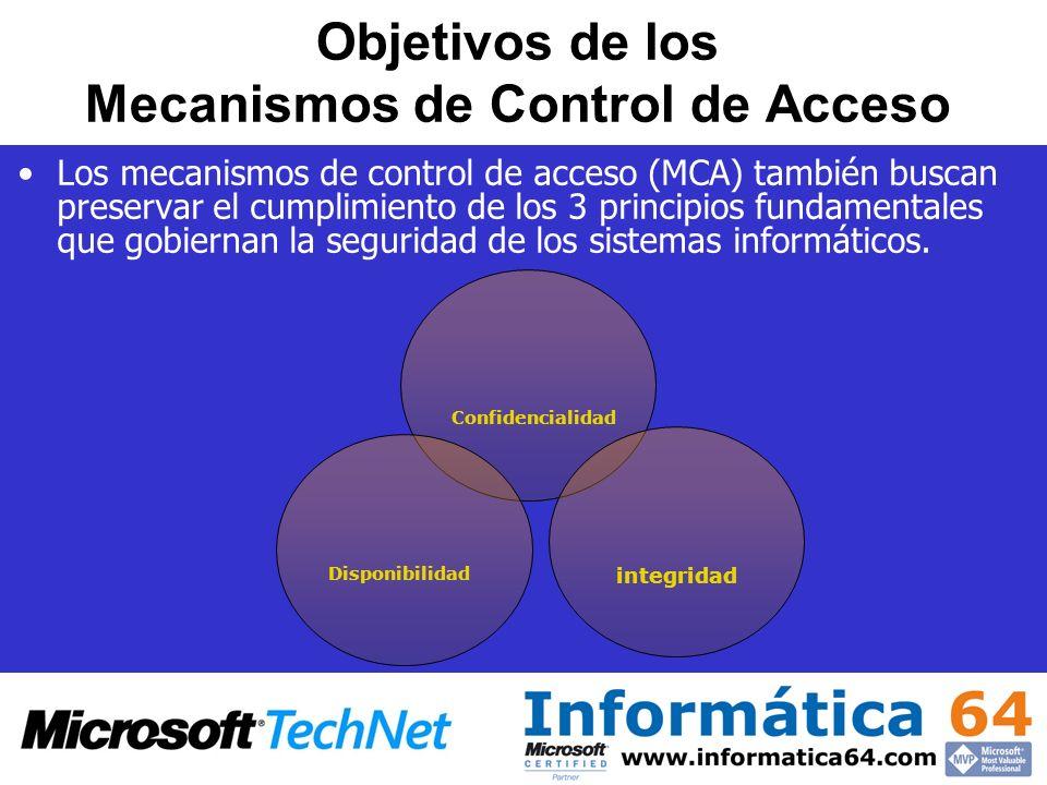 Objetivos de los Mecanismos de Control de Acceso Los mecanismos de control de acceso (MCA) también buscan preservar el cumplimiento de los 3 principio