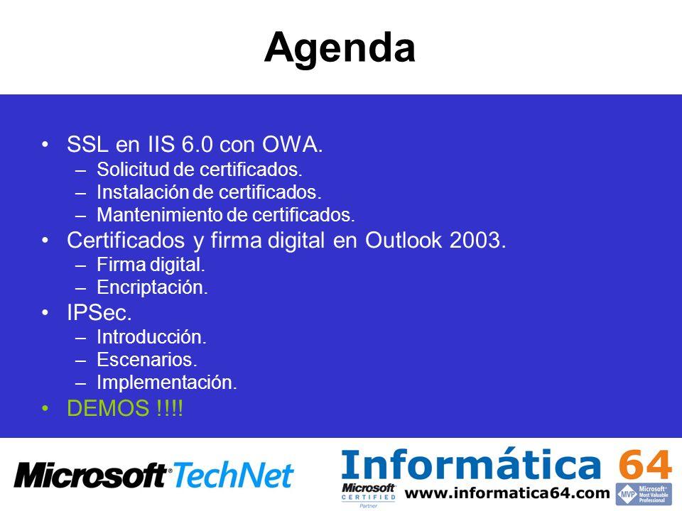 Agenda SSL en IIS 6.0 con OWA. –Solicitud de certificados. –Instalación de certificados. –Mantenimiento de certificados. Certificados y firma digital