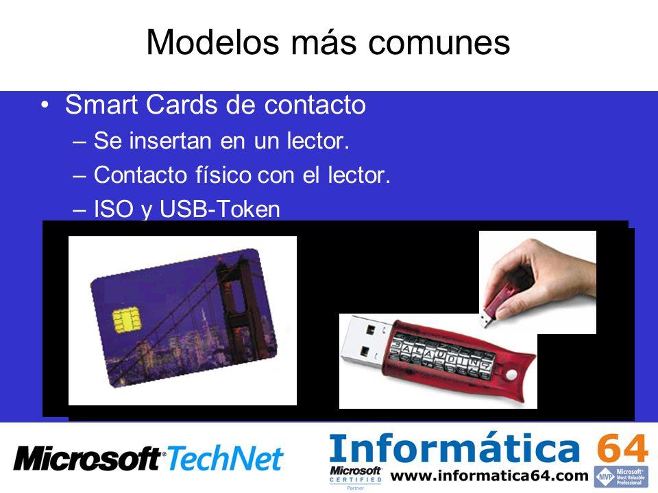 Modelos más comunes Smart Cards de contacto –Se insertan en un lector. –Contacto físico con el lector. –ISO y USB-Token