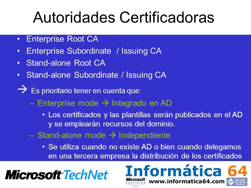 Autoridades Certificadoras Enterprise Root CA Enterprise Subordinate / Issuing CA Stand-alone Root CA Stand-alone Subordinate / Issuing CA Es priorita