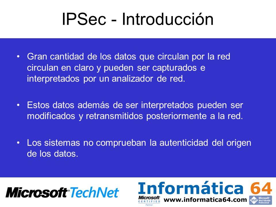 IPSec - Introducción Gran cantidad de los datos que circulan por la red circulan en claro y pueden ser capturados e interpretados por un analizador de