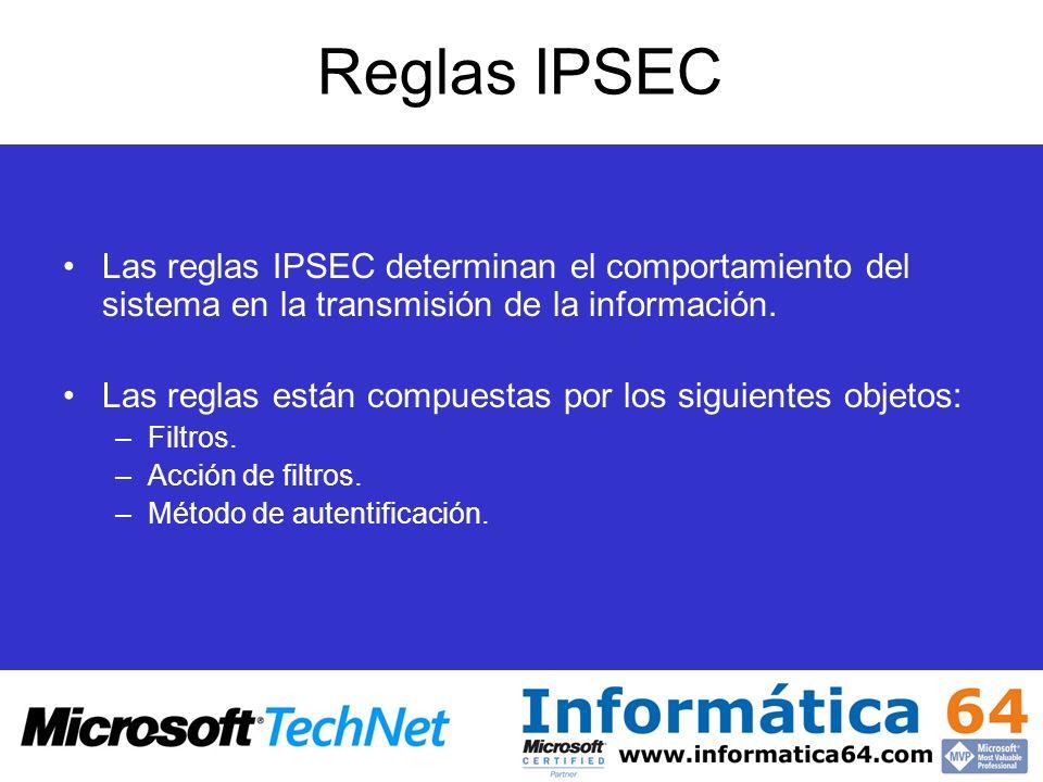 Reglas IPSEC Las reglas IPSEC determinan el comportamiento del sistema en la transmisión de la información. Las reglas están compuestas por los siguie