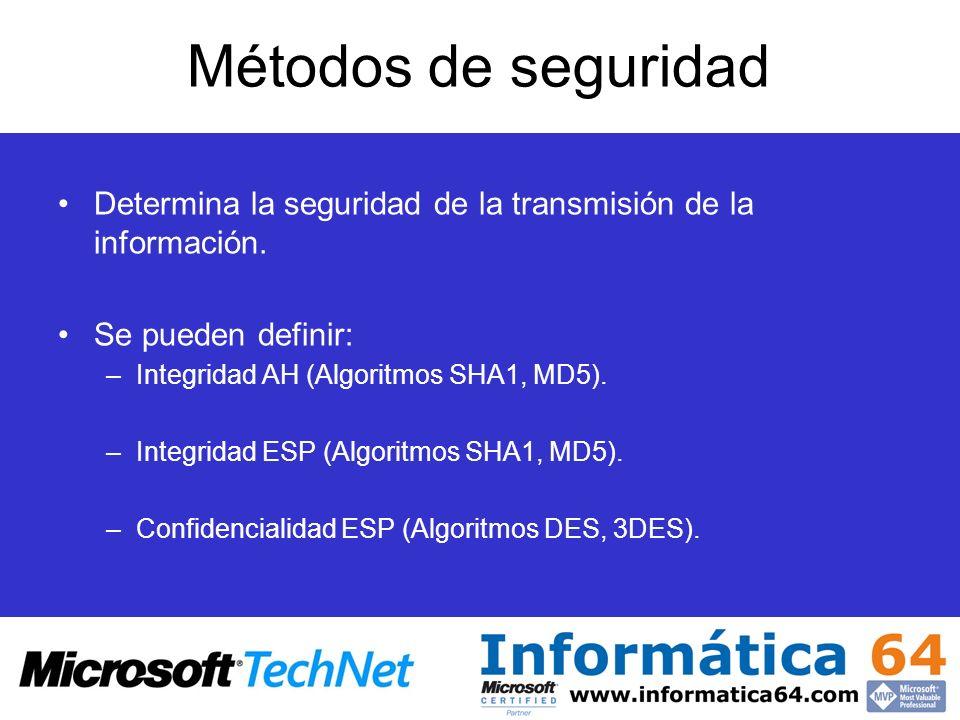 Métodos de seguridad Determina la seguridad de la transmisión de la información. Se pueden definir: –Integridad AH (Algoritmos SHA1, MD5). –Integridad
