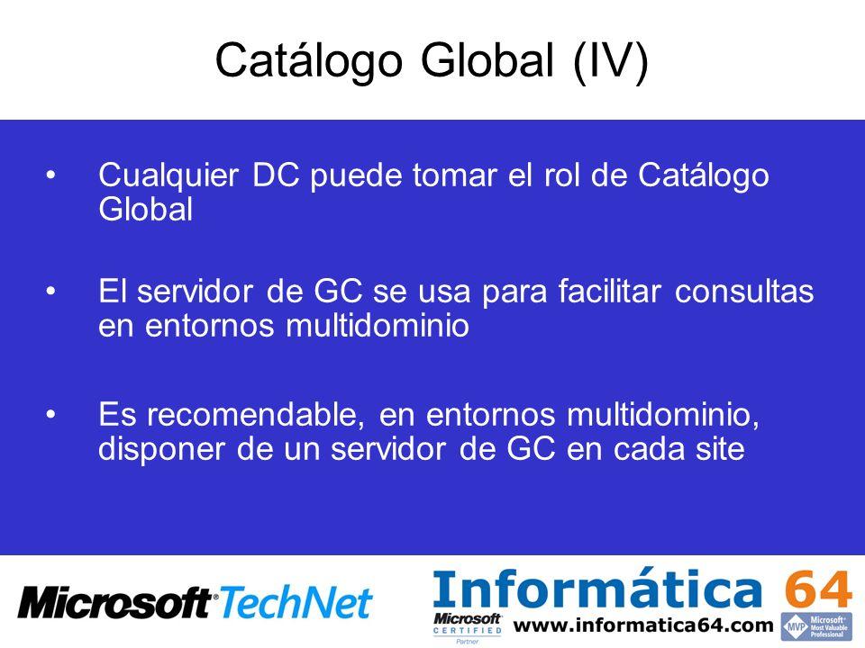 Cualquier DC puede tomar el rol de Catálogo Global El servidor de GC se usa para facilitar consultas en entornos multidominio Es recomendable, en ento