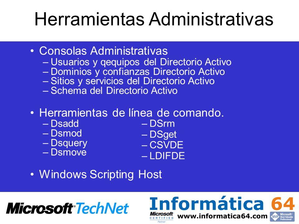 Herramientas Administrativas Consolas Administrativas –Usuarios y qequipos del Directorio Activo –Dominios y confianzas Directorio Activo –Sitios y se