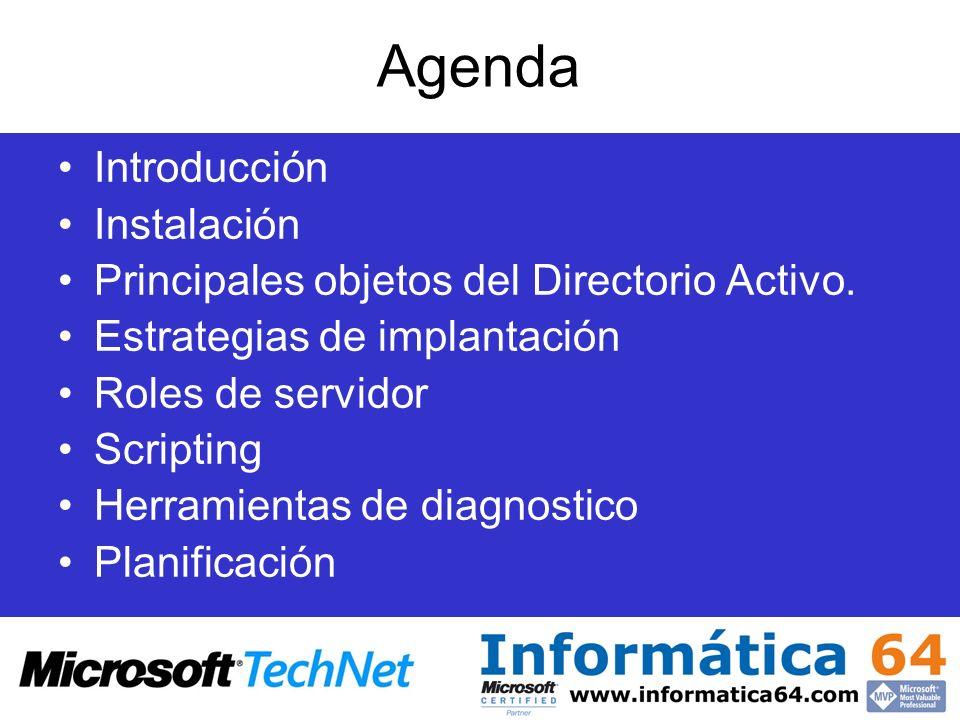 Agenda Introducción Instalación Principales objetos del Directorio Activo. Estrategias de implantación Roles de servidor Scripting Herramientas de dia