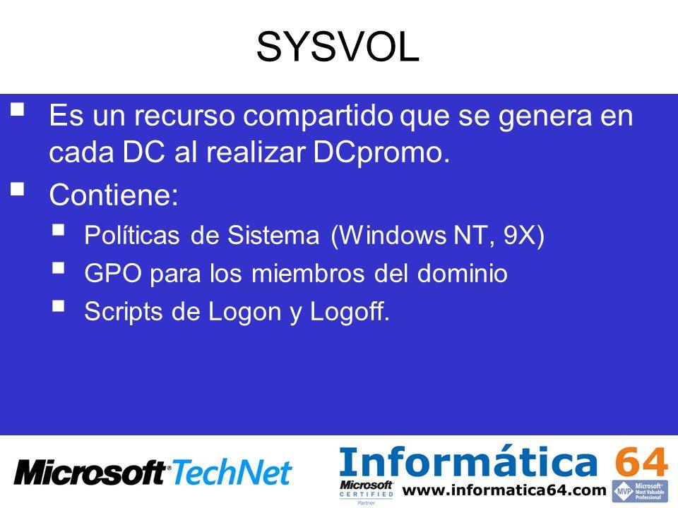 SYSVOL Es un recurso compartido que se genera en cada DC al realizar DCpromo. Contiene: Políticas de Sistema (Windows NT, 9X) GPO para los miembros de