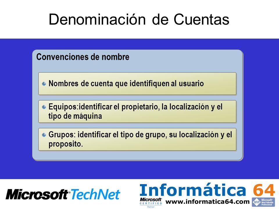 Denominación de Cuentas Convenciones de nombre Nombres de cuenta que identifiquen al usuario Equipos:identificar el propietario, la localización y el