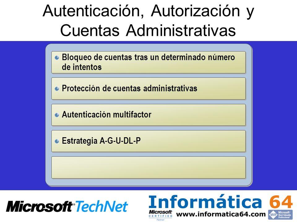 Autenticación, Autorización y Cuentas Administrativas Bloqueo de cuentas tras un determinado número de intentos Protección de cuentas administrativas