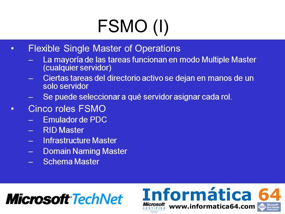 FSMO (I) Flexible Single Master of Operations –La mayoría de las tareas funcionan en modo Multiple Master (cualquier servidor) –Ciertas tareas del dir