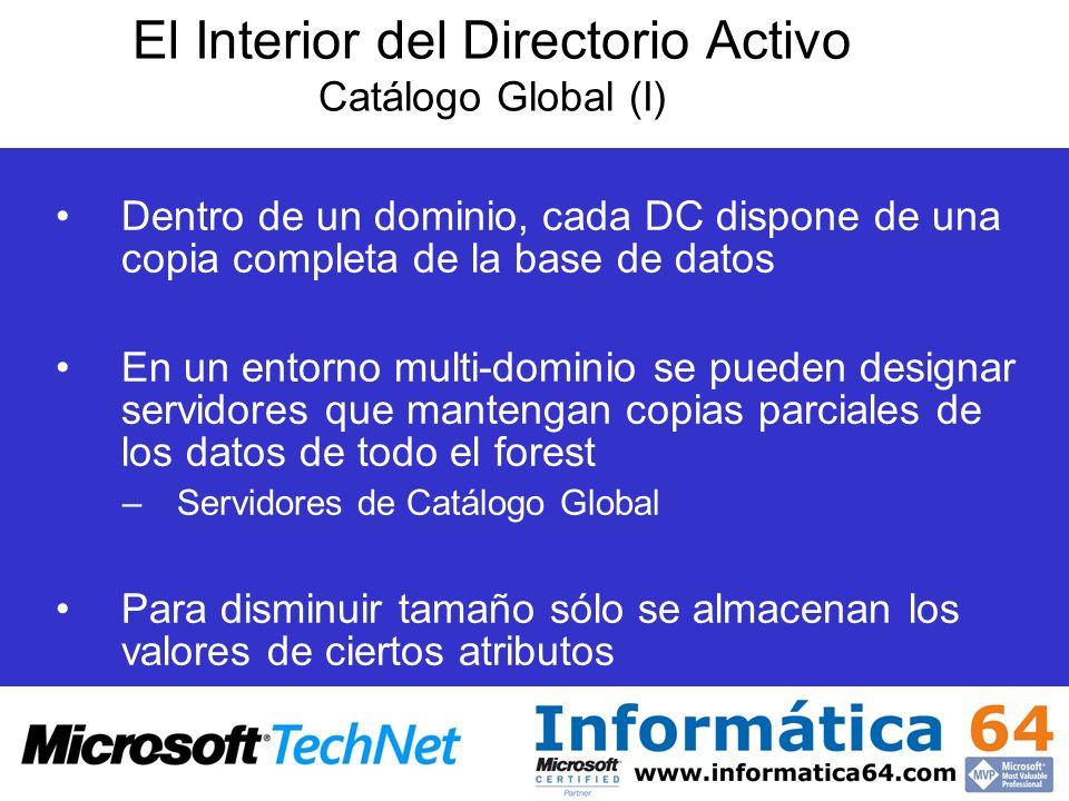 El Interior del Directorio Activo Catálogo Global (I) Dentro de un dominio, cada DC dispone de una copia completa de la base de datos En un entorno mu