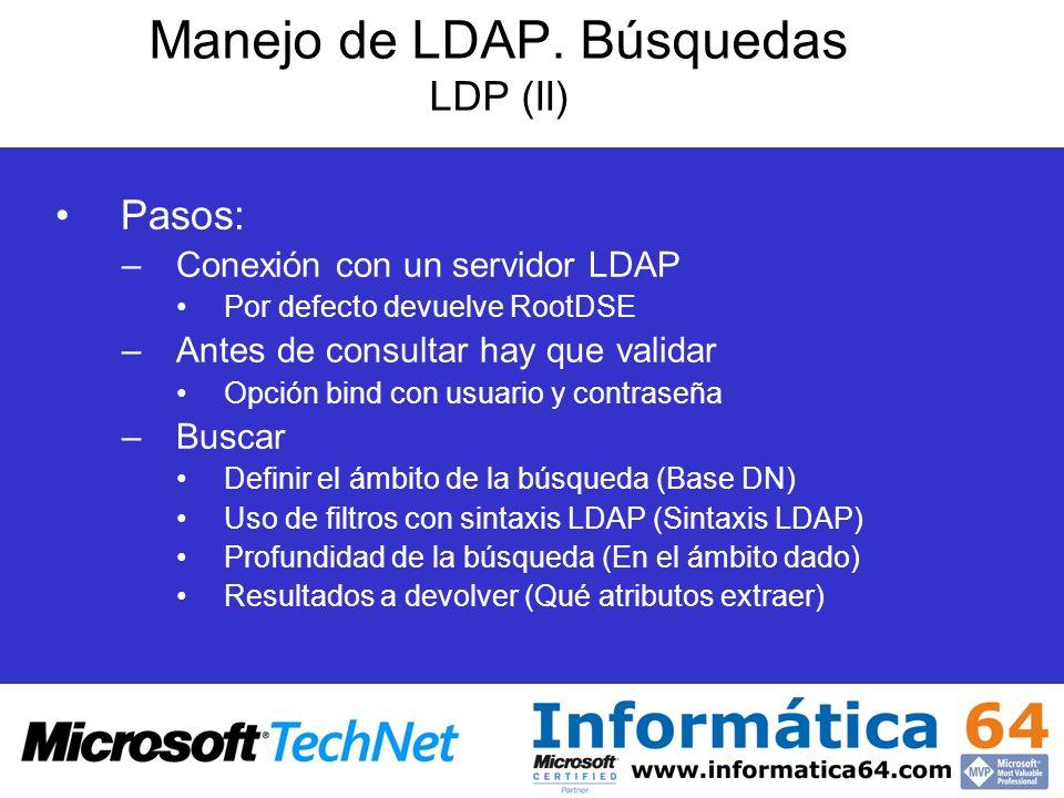 Manejo de LDAP. Búsquedas LDP (II) Pasos: –Conexión con un servidor LDAP Por defecto devuelve RootDSE –Antes de consultar hay que validar Opción bind