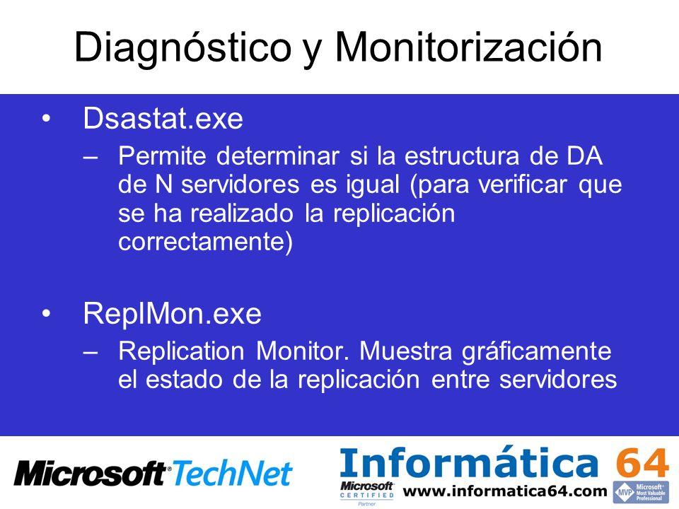 Dsastat.exe –Permite determinar si la estructura de DA de N servidores es igual (para verificar que se ha realizado la replicación correctamente) Repl