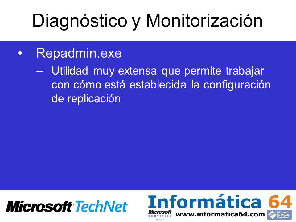 Repadmin.exe –Utilidad muy extensa que permite trabajar con cómo está establecida la configuración de replicación Diagnóstico y Monitorización