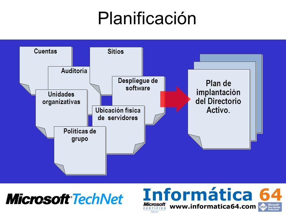 Planificación Cuentas Auditoría Unidades organizativas Sitios Despliegue de software Ubicación física de servidores Políticas de grupo Plan de implant
