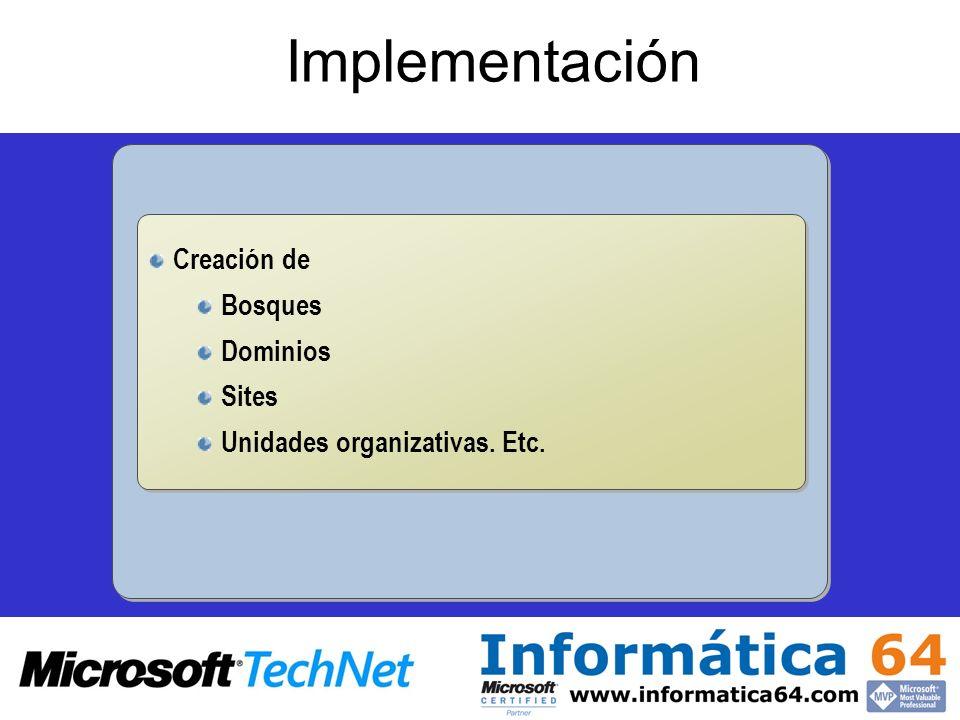 Implementación Creación de Bosques Dominios Sites Unidades organizativas. Etc. Creación de Bosques Dominios Sites Unidades organizativas. Etc.