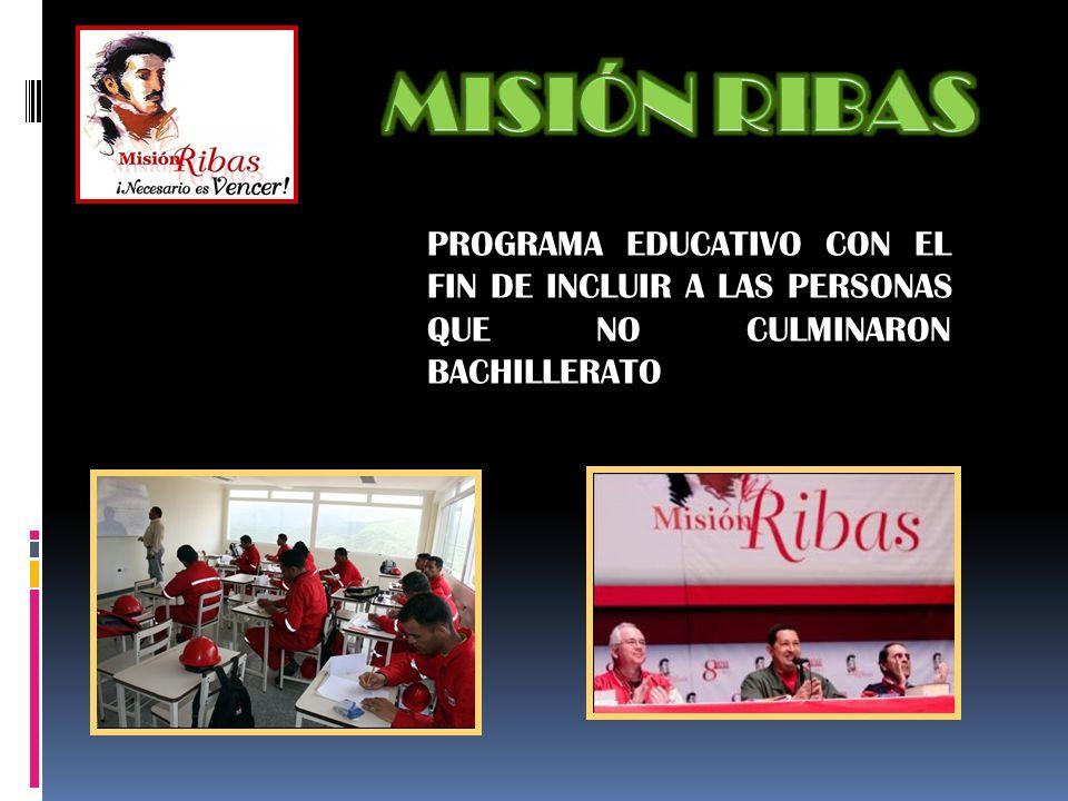 PROGRAMA EDUCATIVO CON EL FIN DE INCLUIR A LAS PERSONAS QUE NO CULMINARON BACHILLERATO