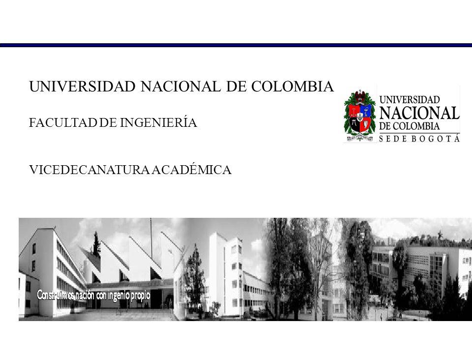 UNIVERSIDAD NACIONAL DE COLOMBIA FACULTAD DE INGENIERÍA VICEDECANATURA ACADÉMICA
