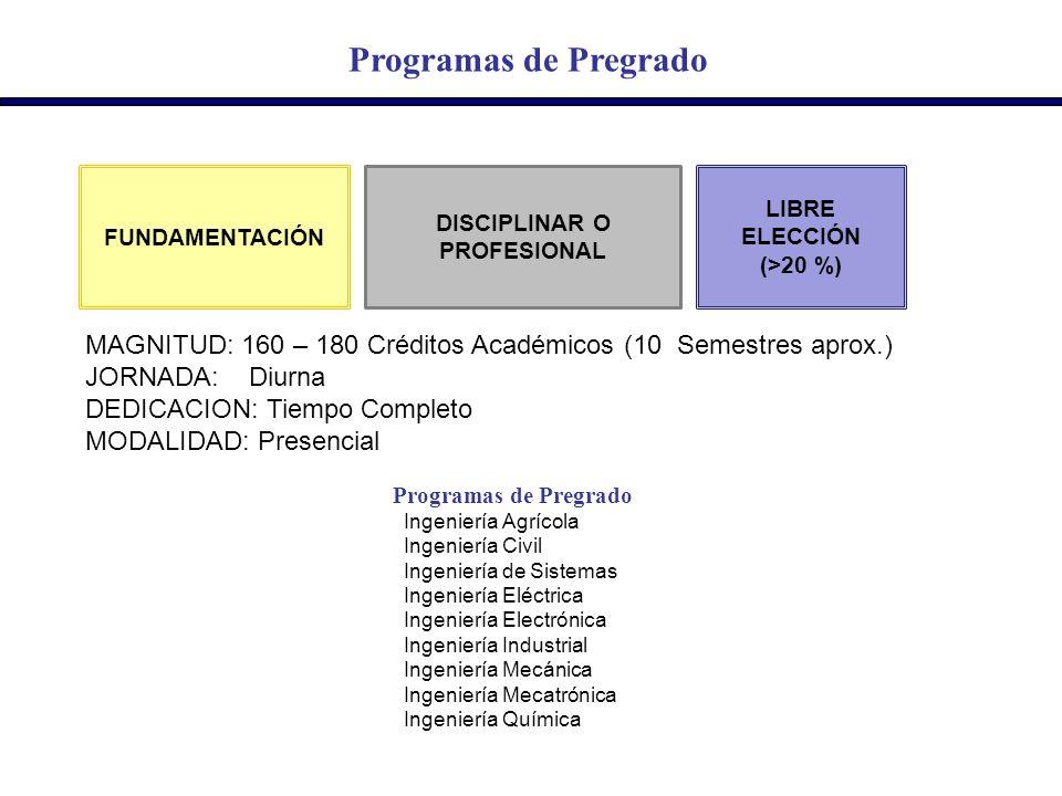 Programas de Pregrado DISCIPLINAR O PROFESIONAL FUNDAMENTACIÓN LIBRE ELECCIÓN (>20 %) Programas de Pregrado Ingeniería Agrícola Ingeniería Civil Ingen